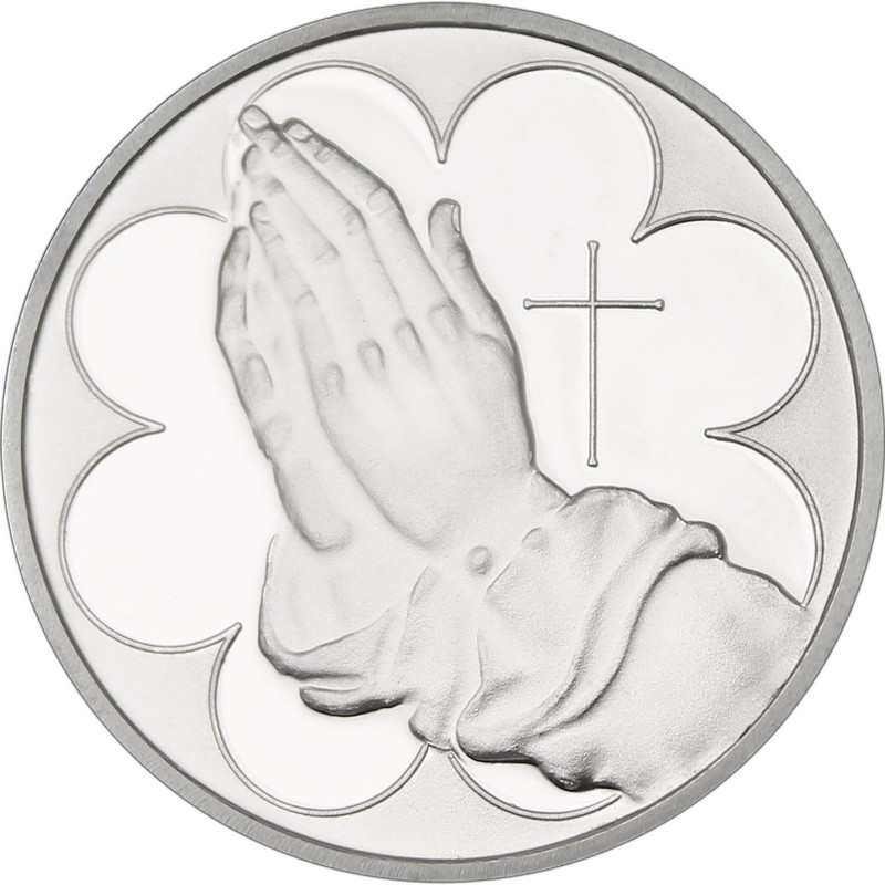Praying Hands 999 Silver 1 Oz Round Golden Eagle Coins