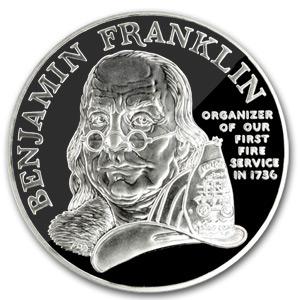 1992 Ben Franklin Firefighters Silver Medal 1 Oz Proof