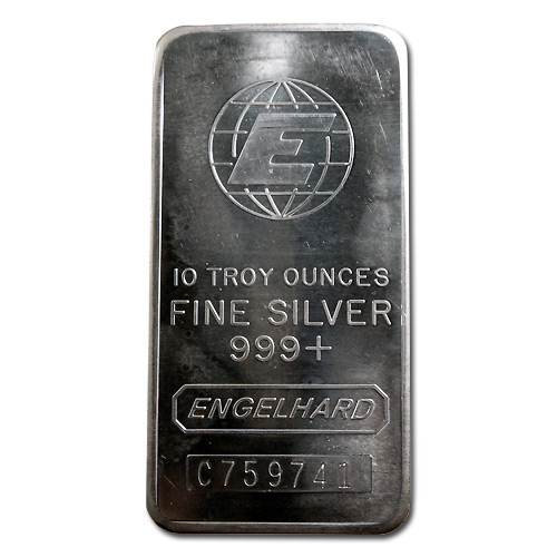 Engelhard Silver Bar 10 Oz Bar Tall E Globe Golden