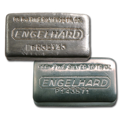 Engelhard Silver Bar 10 Oz Bar Wide Poured Golden