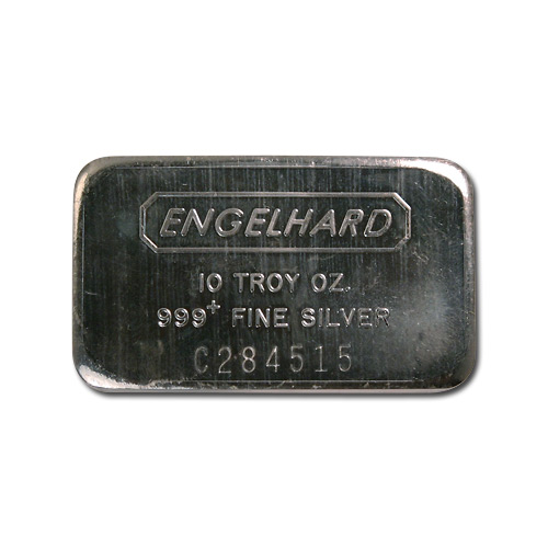 Engelhard Silver Bar 10 Oz Bar Wide Struck Logo Back
