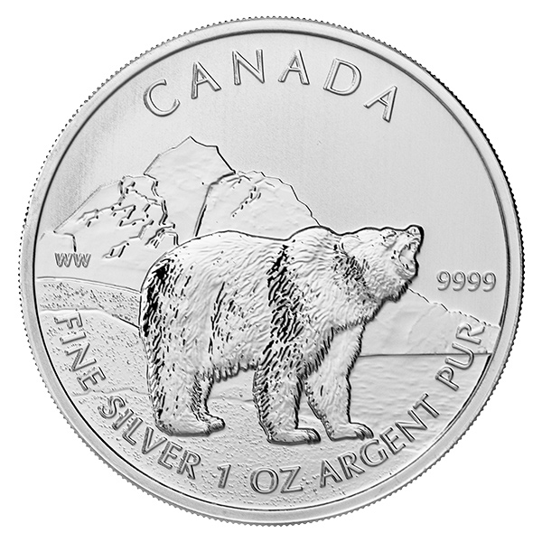 Canadian Silver 1 Oz Grizzly Bear 2011 Golden Eagle Coins