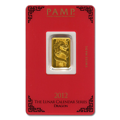 Pamp Suisse 5 Gram Gold Bar 2017 Dragon Design