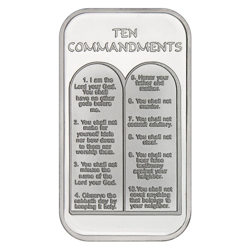 Ten Commandments 999 Silver 1 Oz Bar Golden Eagle Coins