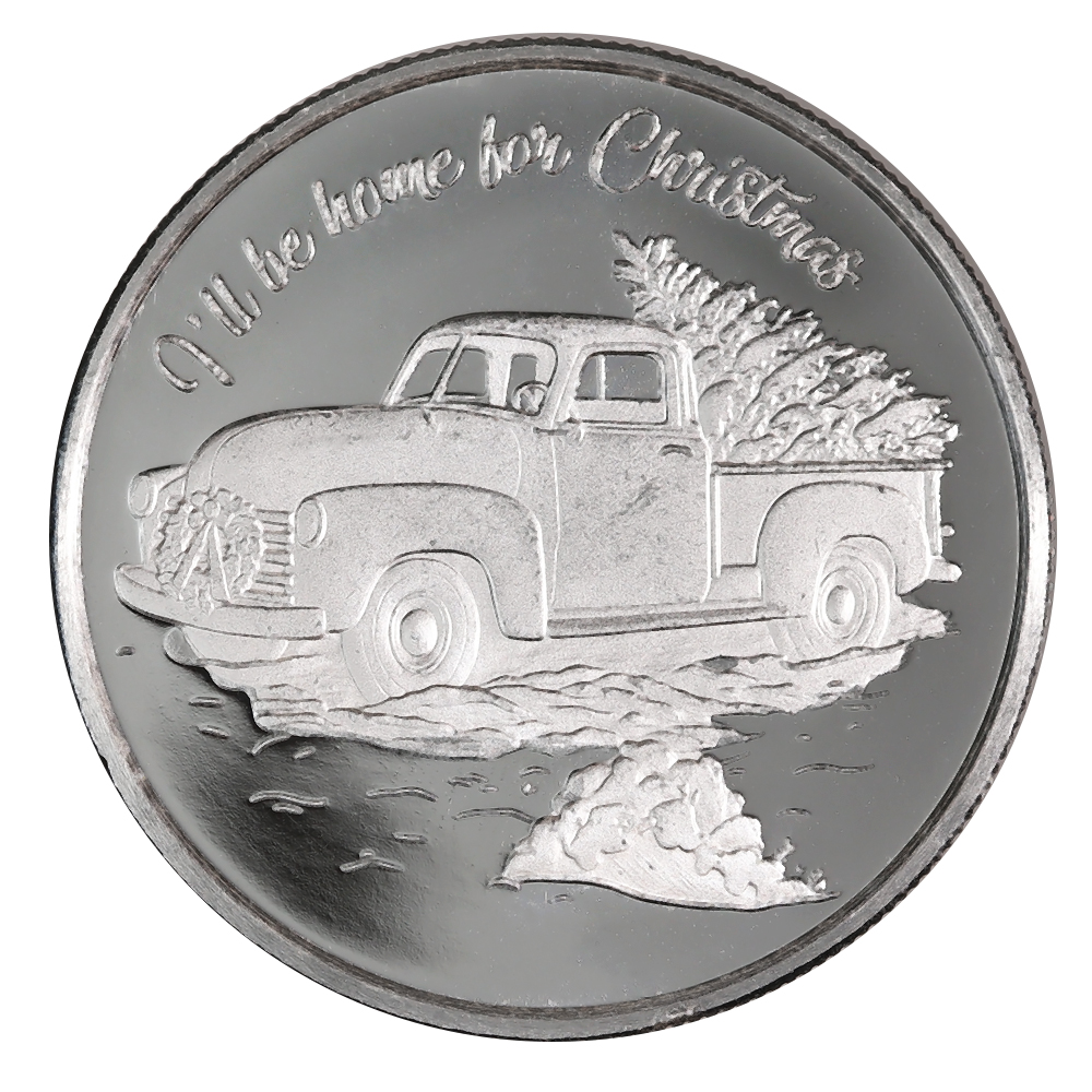 2020 Farm Truck Christmas 1oz Silver Round D 3 Golden Eagle Coins